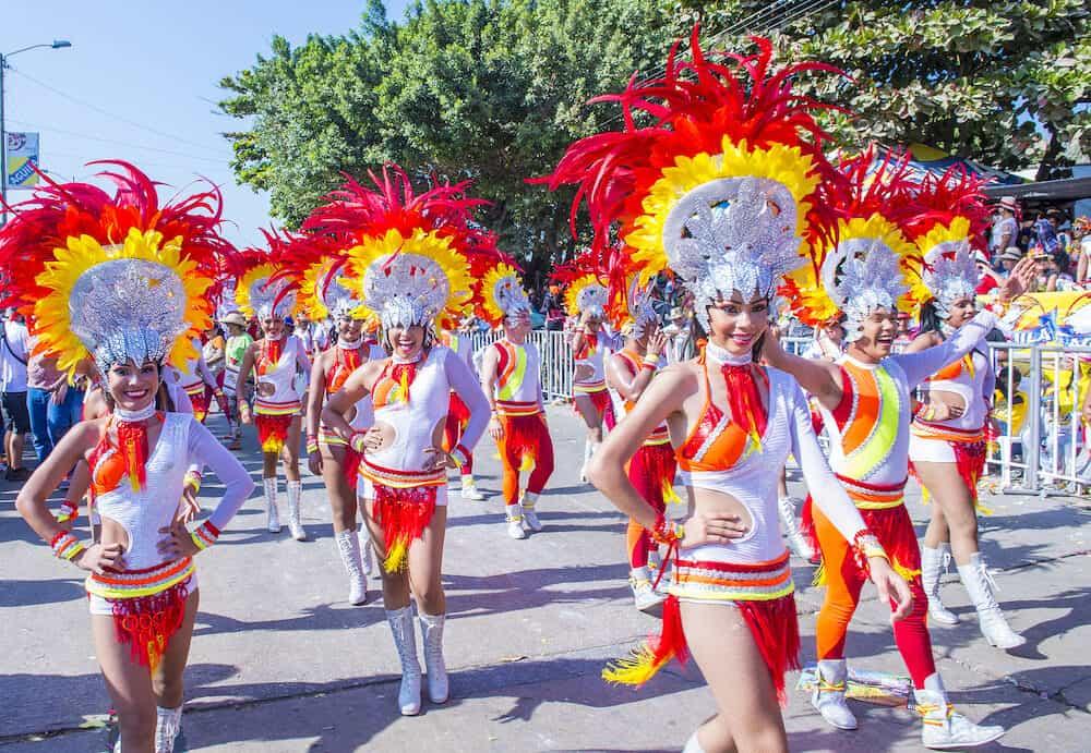 BARRANQUILLA Participants in the Barranquilla Carnival in Barranquilla Colombia. Barranquilla Carnival is one of the biggest carnival in the world