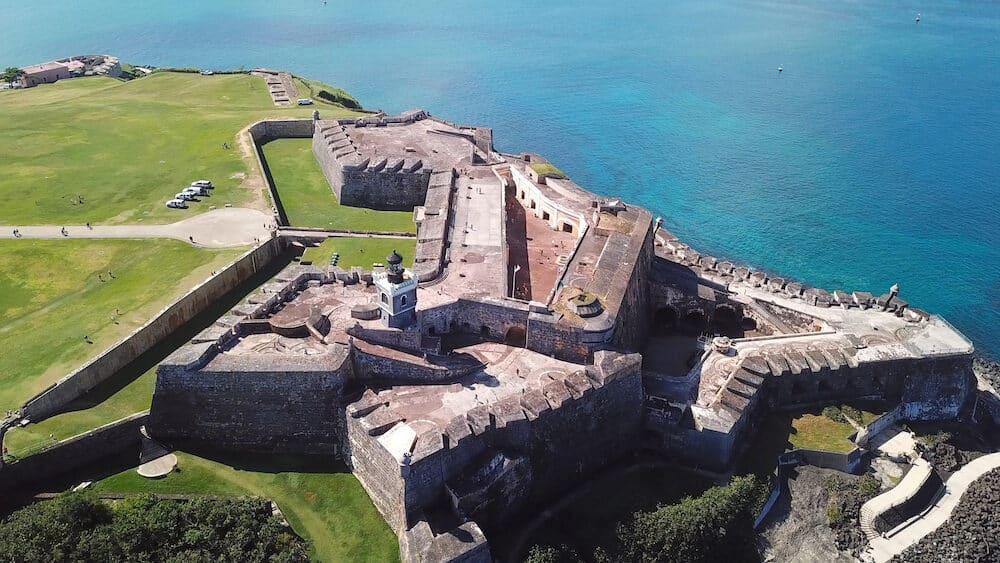 Aerial view of Castillo San Felipe del Morro in San Juan, Puerto Rico.