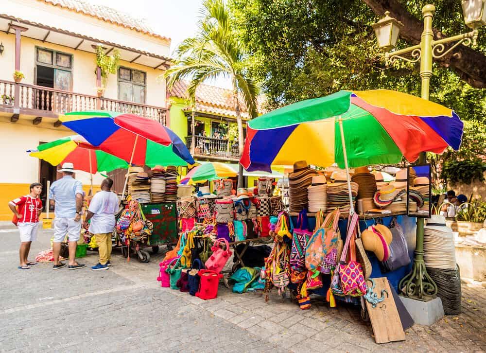 cartagena Colombia. . A souvenir street market in cartagena in Colombia