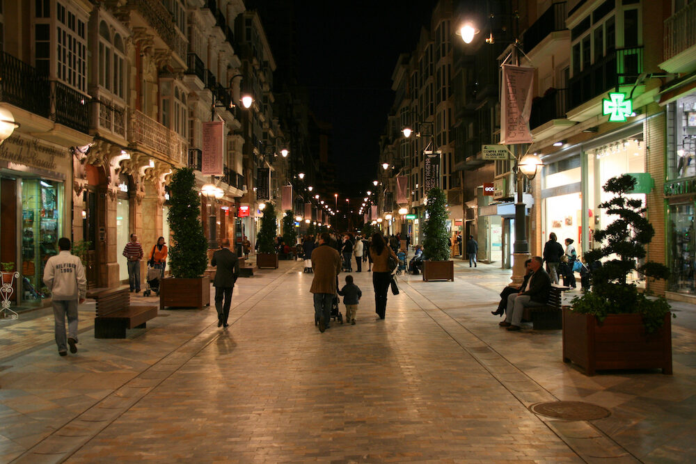 cartagena spain - : tourists on streets of cartagena. with recent tourism promotion and old town renovation cartagena is becoming major tourism destination in spain.