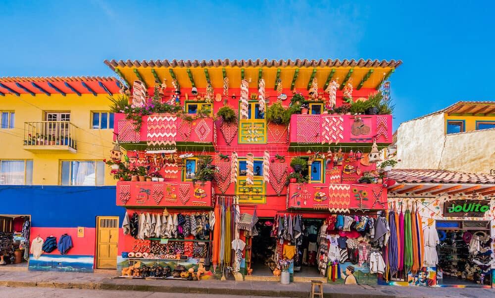 Villa De Leyva, Colombia - : colorful traditional house souvenir gift shop Villa de Leyva Boyaca in Colombia South America