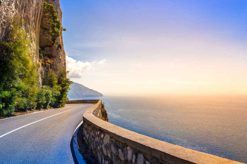 Amalfi Coast, Mediterranean Sea, Italy. Roads with cinematographic landscapes.