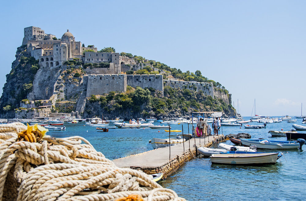 Ancient castle near Ischia island. Tourist target when traveling in Campania. Italy.
