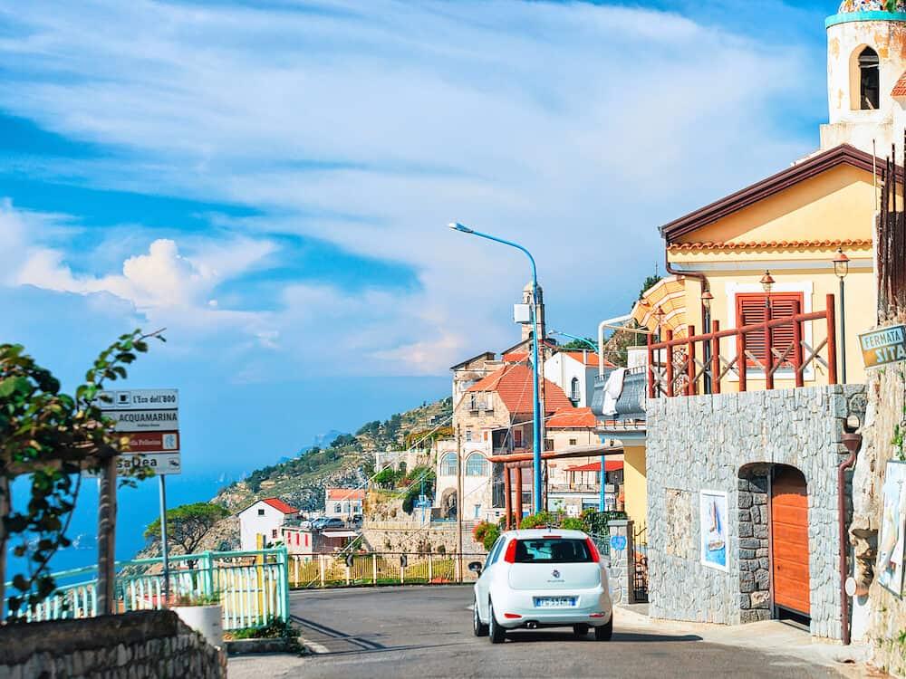 Agerola, Italy - Car on road in Agerola on Amalfi coast, Italy, autumn