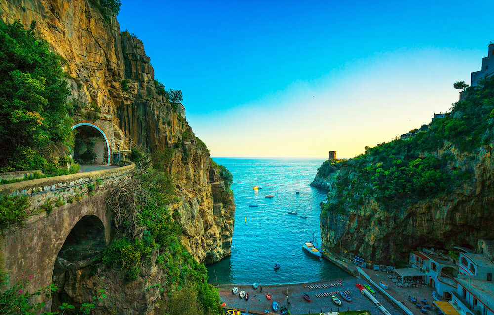 Furore beach bay in Amalfi coast, panoramic view. Italy, Europe