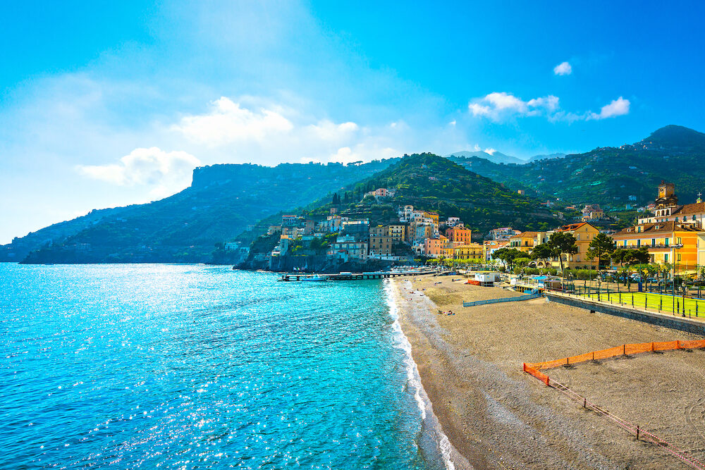 Minori town in Amalfi coast, panoramic beach view. Italy, Europe