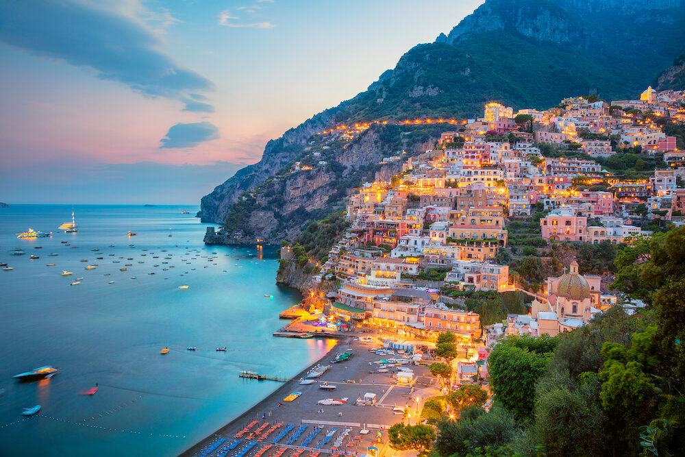 Positano. Aerial image of famous city Positano located on Amalfi Coast, Italy during sunset.