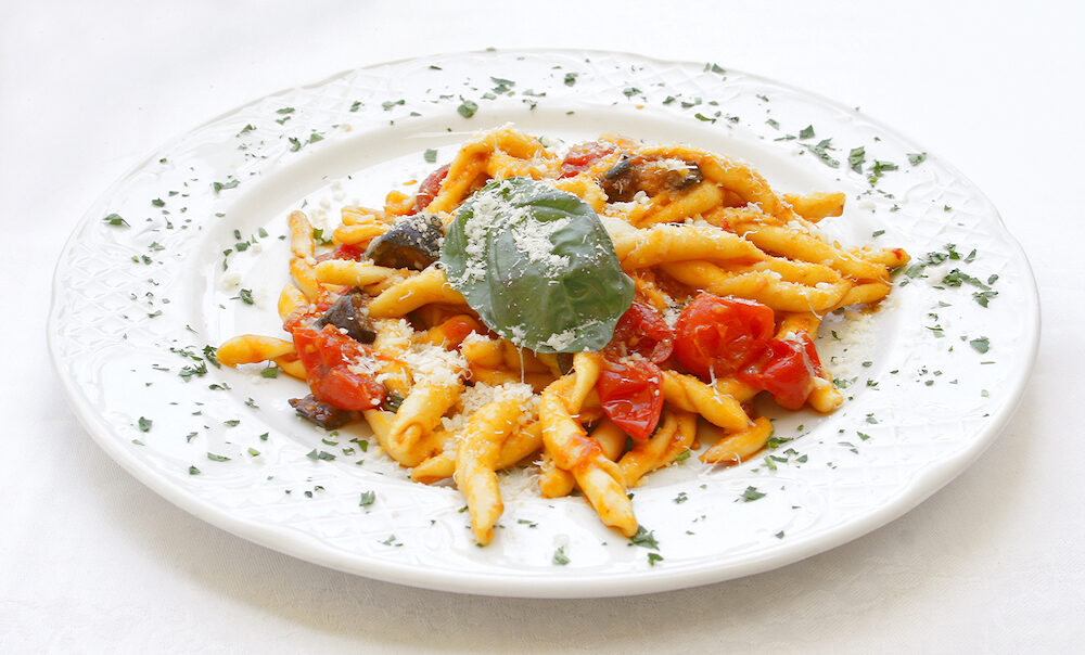 Scialatielli all'Amalfitana pasta with eggplants and cherry tomatoes