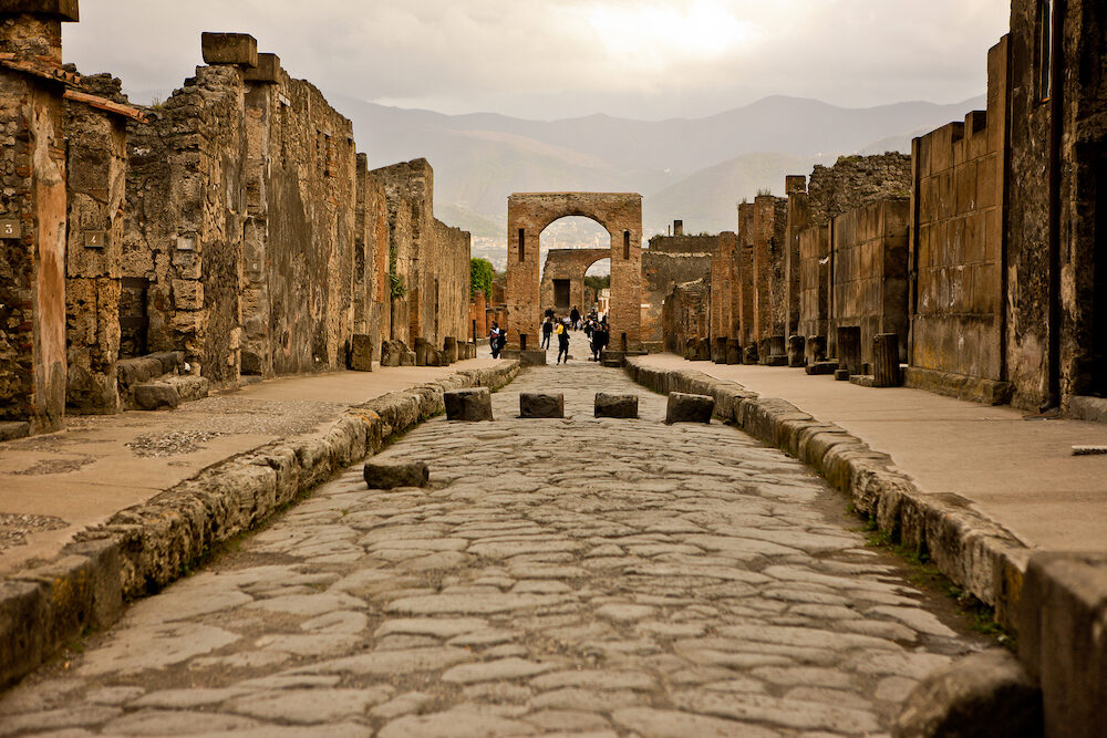 POMPEII, ITALY- Ancient ruins in Pompeii, destroyed and buried under volcanic ash during eruption of Mount Vesuvius