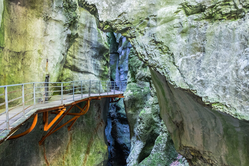 Beautiful Gorges du Fier french canyon near Annecy Haute-Savoie department. France
