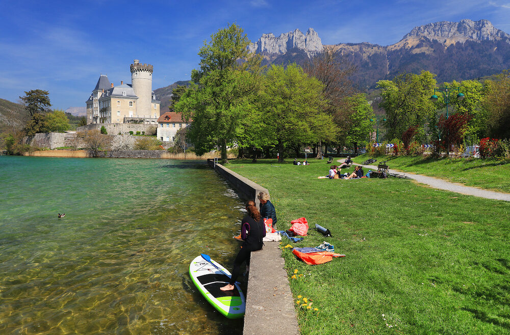 ANNECY, - Duingt castle on the shores of Lake Annecy, France, Europe