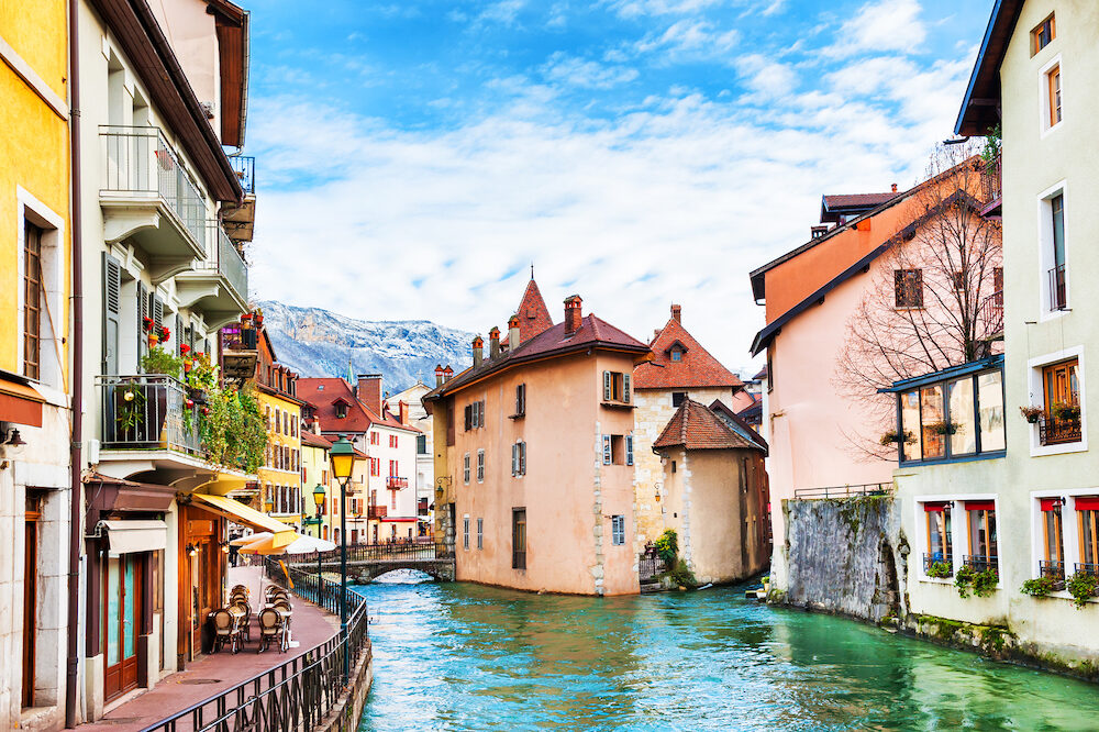 Old town with medieval buildings on canal in Annecy, France.