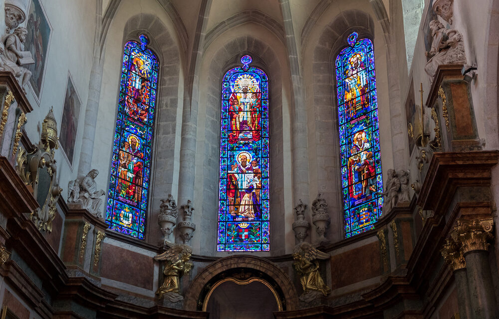 ANNECY FRANCE - Stained glass windows of Eglise Notre Dame de Liesse. Annecy Haute-Savoie France