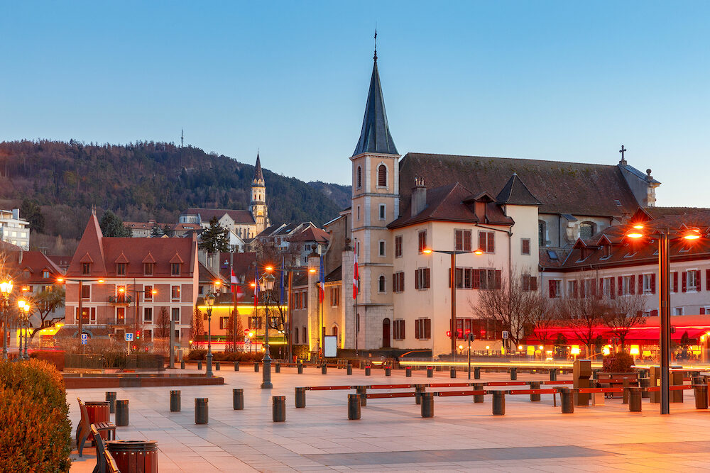 The building of the Church of St. Maurice in the old city at sunset. Annecy. France.