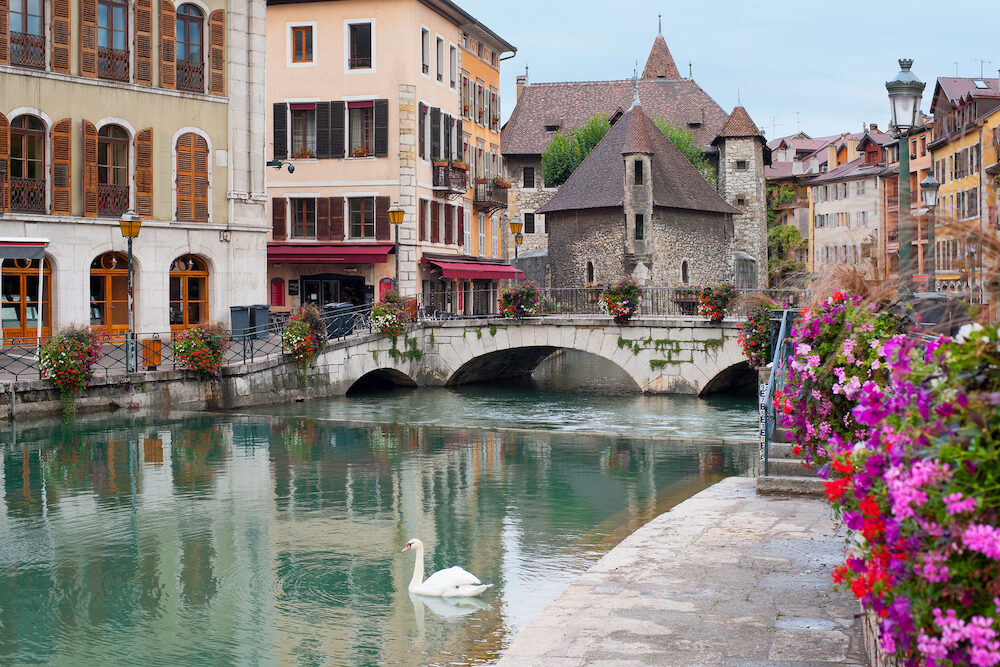 Wonderful view of Annecy and Palais de l'Isle in september.
