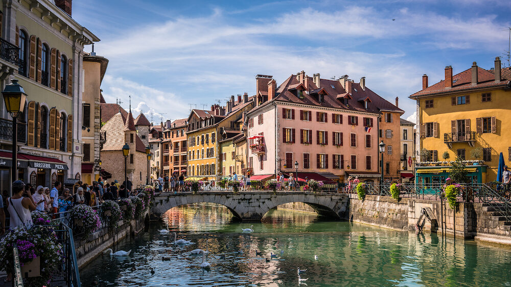 Annecy France : Annecy cityscape wih Thiou river view bridge and palais de l isle in the background