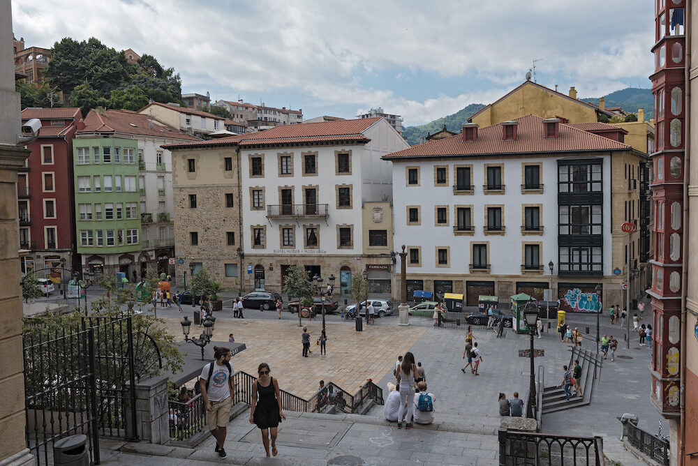 BILBAO, SPAIN- people in the square and bars on the unamuno square, bilbao, spain.