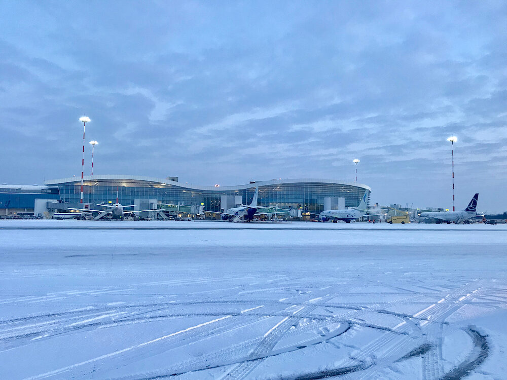BUCHAREST - Aircraft deicing in process after snowfall at Henri Coand? International Airport in Bucharest, Romania.