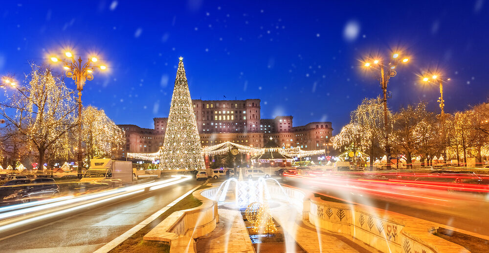 Bucharest cityscape, beautiful Christmas scene in holiday celebration, Romania