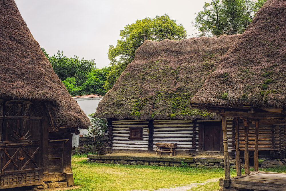 Bucharest, Romania - Dimitrie Gusti National Village Museum, Traditional Romanian wooden folk house
