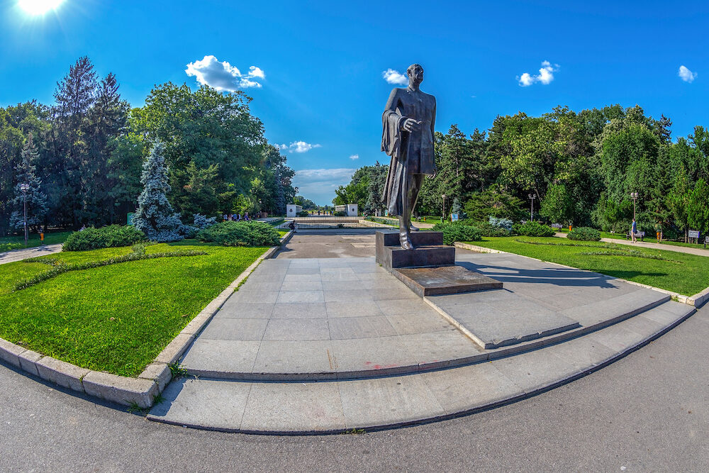 BUCHAREST, ROMANIA, Statue of General de Charles de Gaulle, president of France between 1958-1969, located in Bucharest at one of the entrances to Herastrau Park.