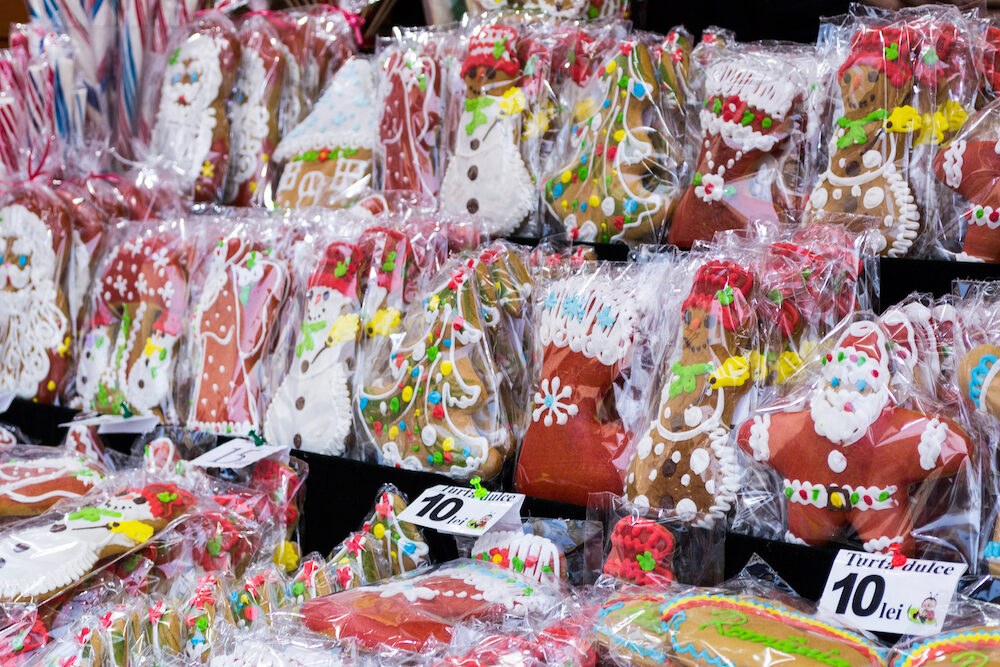 BUCHAREST, ROMANIA - Sweet gifts at Bucharest Christmas market.
