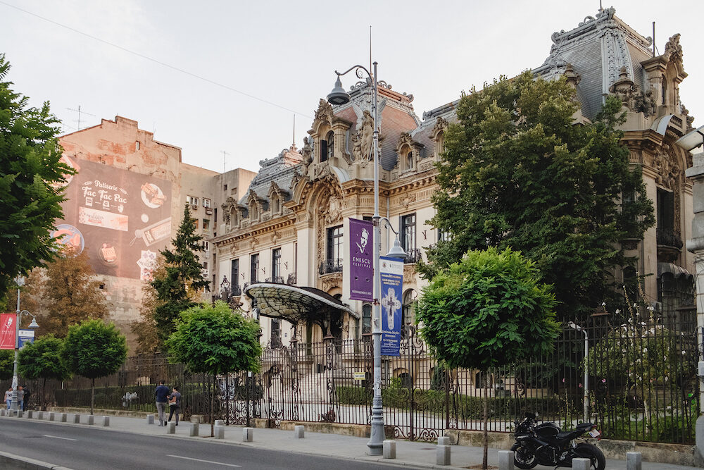Bucharest, Romania - The historic building of George Enescu Museum in French Baroque style on Calea Victoriei, Bucharest Romania.