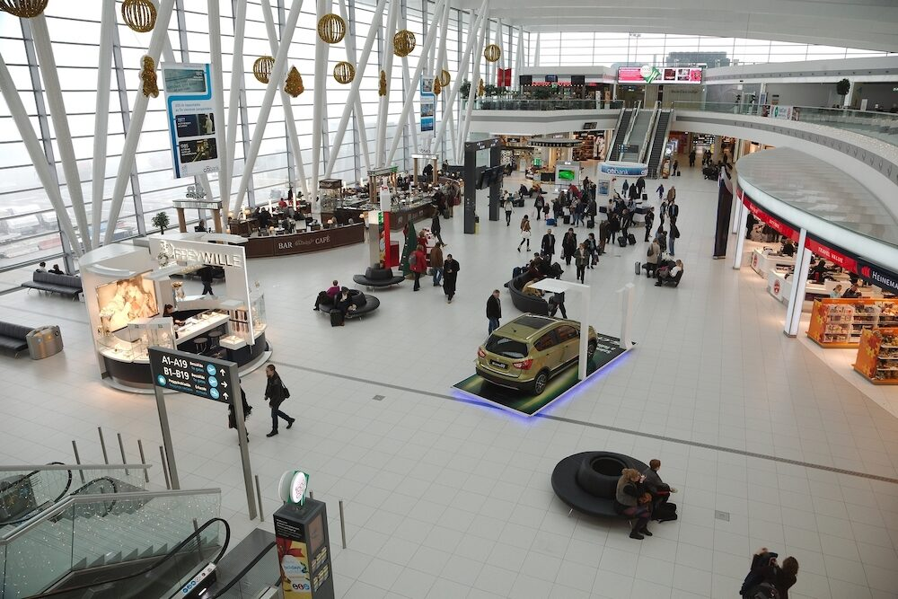 BUDAPEST, HUNGARY - Interior of the the terminal building at Budapest Liszt Ferenc Airport. The new building called Skycourt was finished