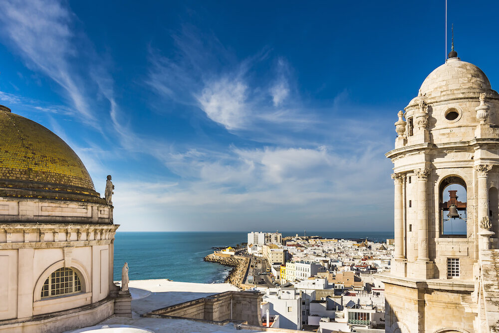 Aerial view of the Bay of Cadiz from Levante Tower, Cadiz Cathedral
