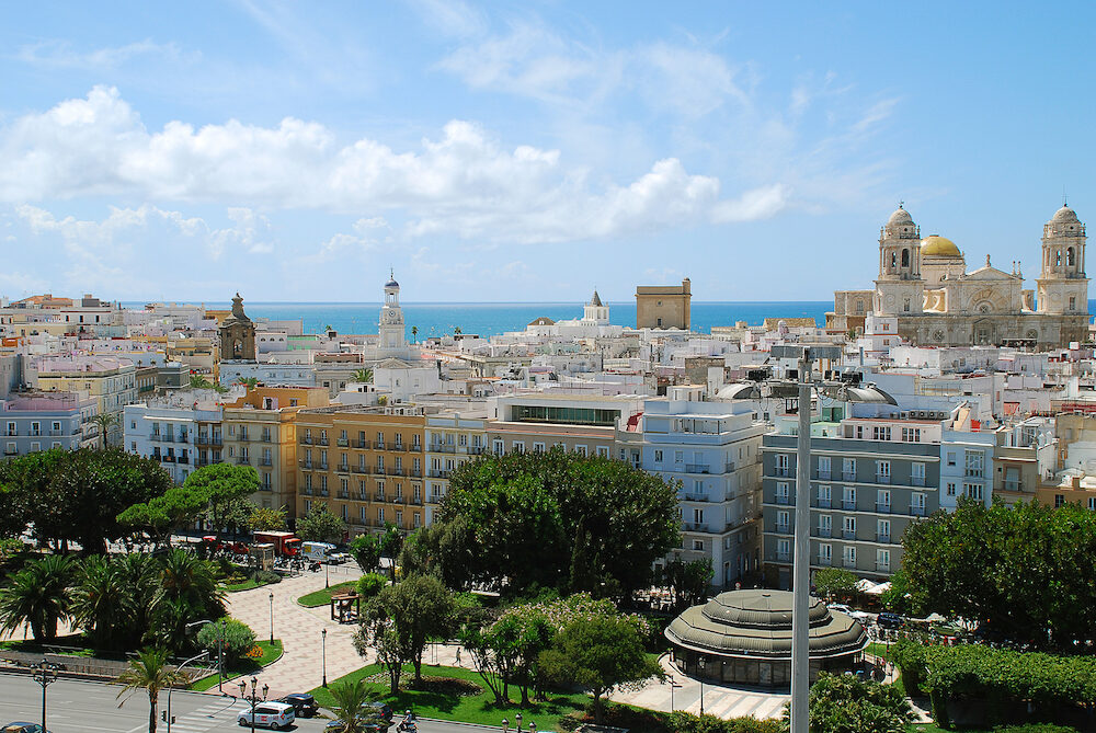 Aerial view of the Old City of Cadiz, Spain. On the left side the Ayuntamiento, the town hall of Cadiz's. On the ride side the Cathedral of Cadiz