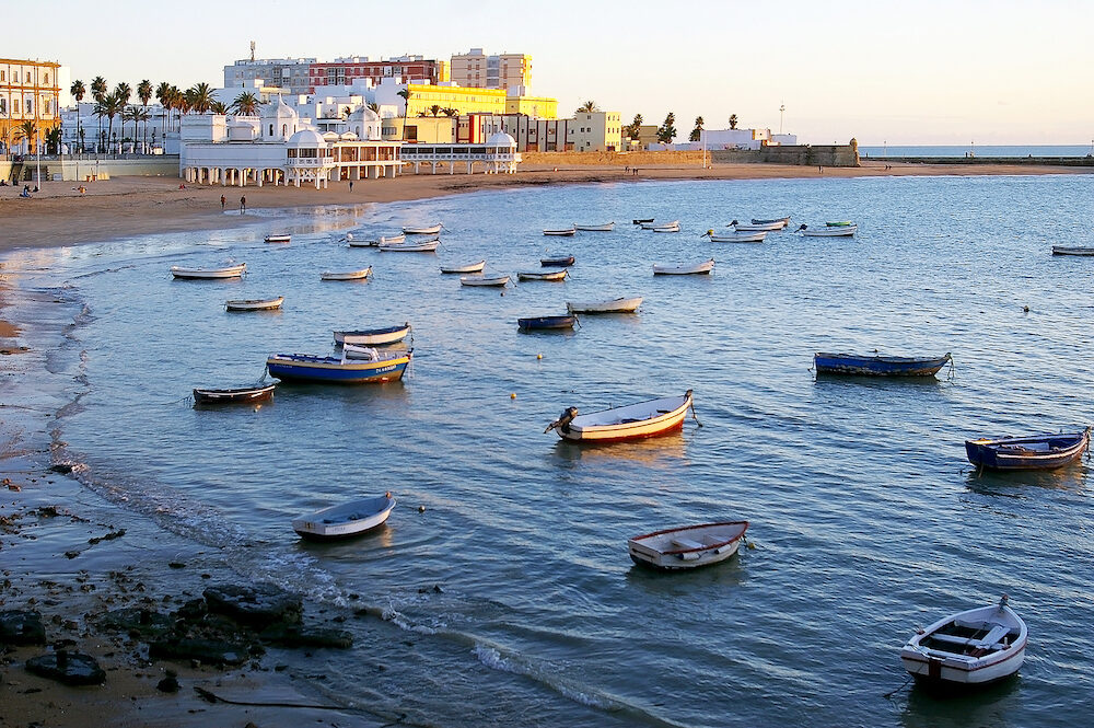 beach of La Caleta in the bay of the capital of Cadiz, Andalusia. Spain. Europe.