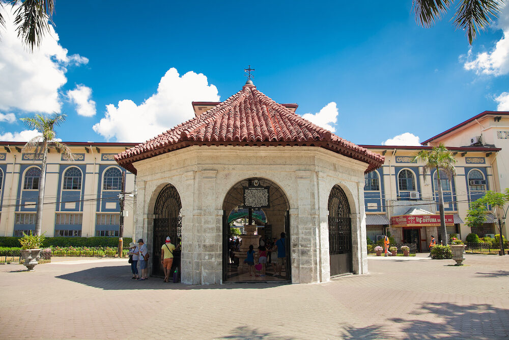 CEBU,PHILIPPINES - Magellan's Cross was planted by Ferdinand Magellan upon arriving in Cebu in 1521, and is housed in a chapel next to the Basilica Minore del Santo Nino in Cebu.