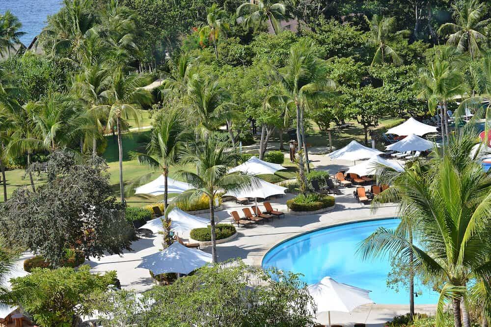 CEBU PHILIPPINES - : Shangri-La Mactan Resort and Spa grounds. The luxury resort features a marine sanctuary.