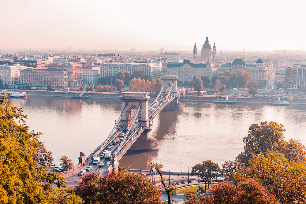 BUDAPEST, HUNGARY - : Chain Bridge in Budapest is famous place for visiting and historical architecture monument