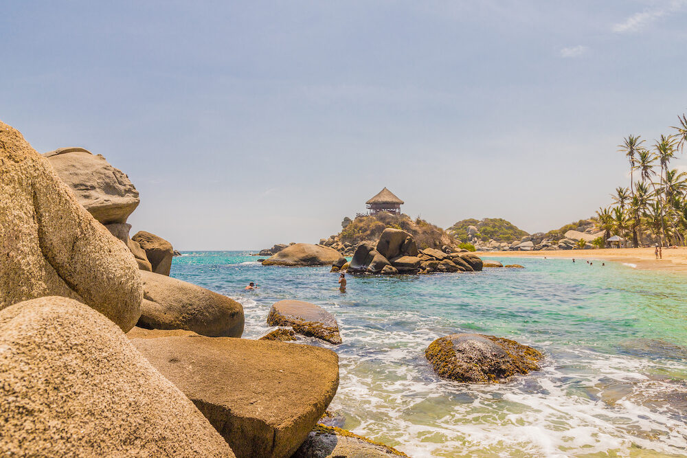 Tayrona National Park. A view of the beach and the famous hammock hut at Cabo San Juan in tayrona national Park in Colombia