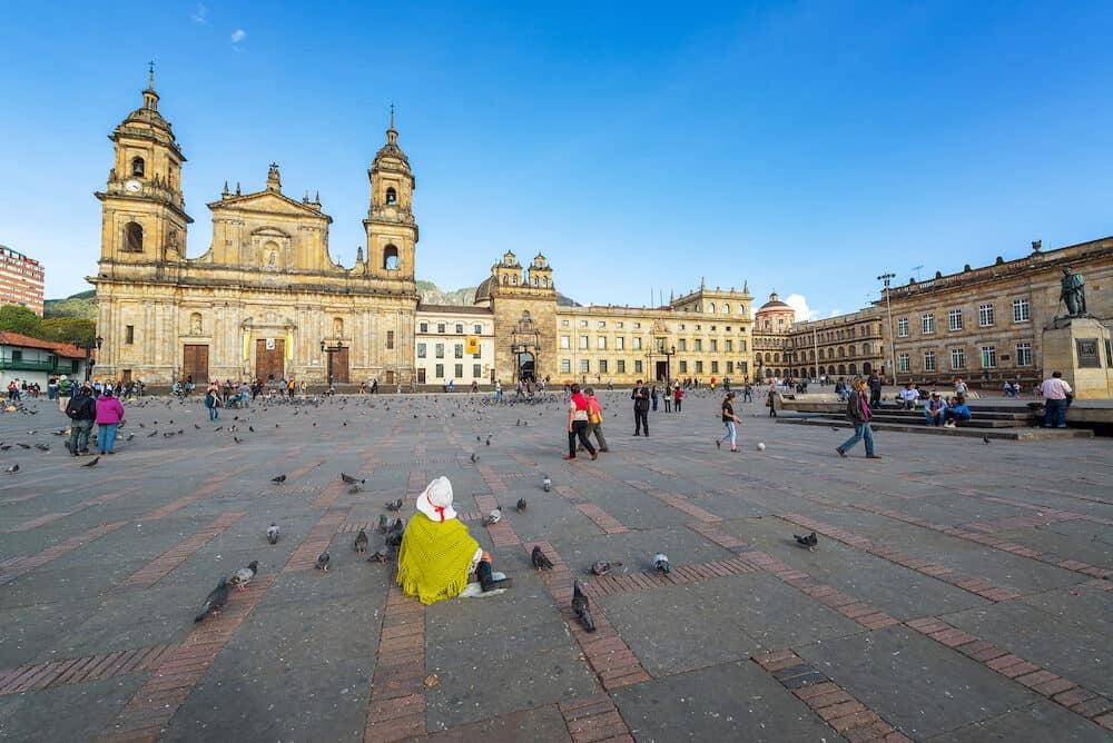BOGOTA, COLOMBIA - : Activity in the Plaza de Bolivar in the center of Bogota, Colombia