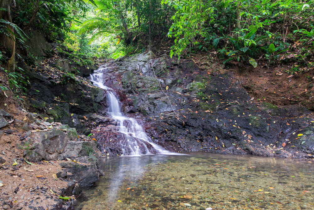 Small waterfall in a dense tropical rainforest near Capurgana Colombia