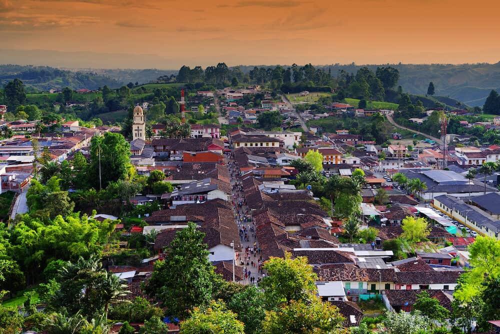 SALENTO, COLOMBIA, Street scene in Salento, Colombia, South America