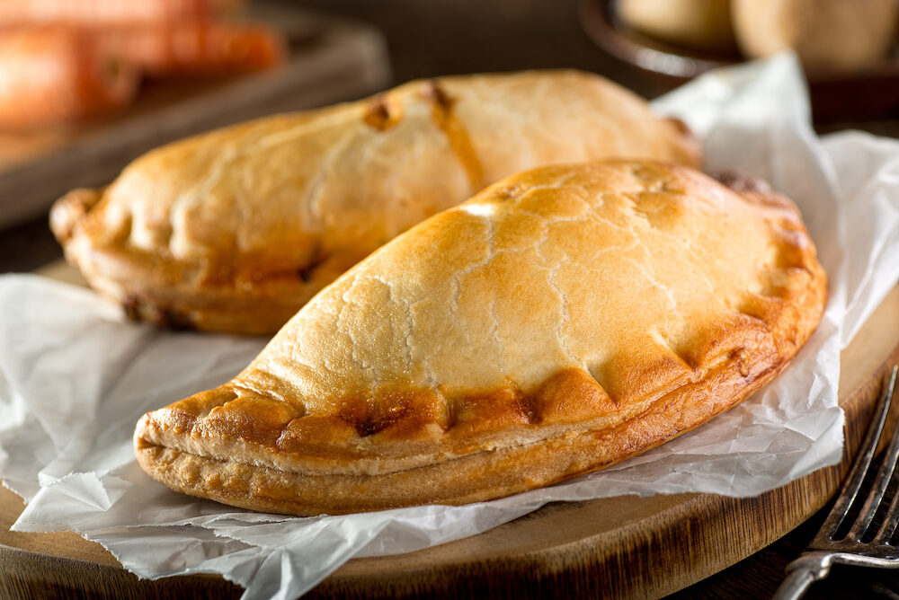 Delicious homemade Cornish pasties with beef carrot and potato.