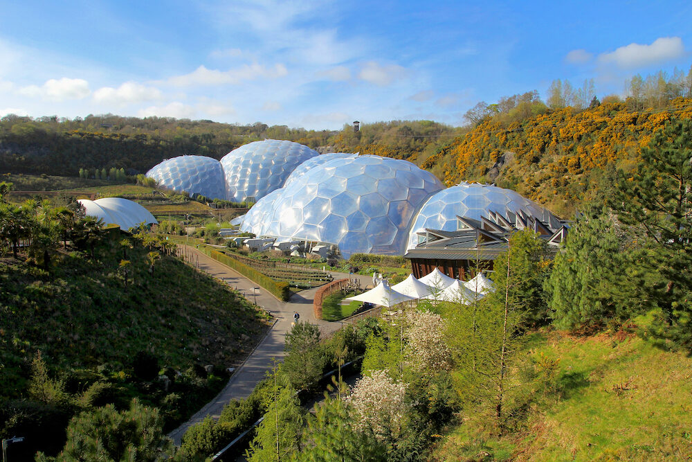 Bodelva Cornwall UK - Exterior of the biomes at the Eden Project Environmental exhibition in Cornwall England