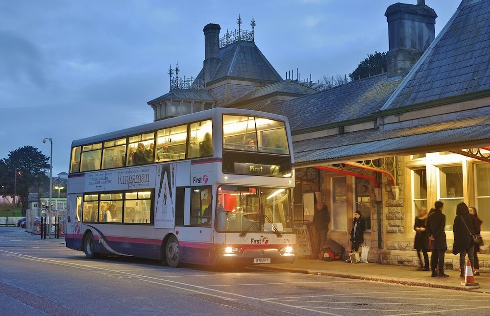 TORQUAY, UK- : First Devon & Cornwall East Lancs bodied Dennis Trident stands outside Torquay Railway Station on a rail replacement service.