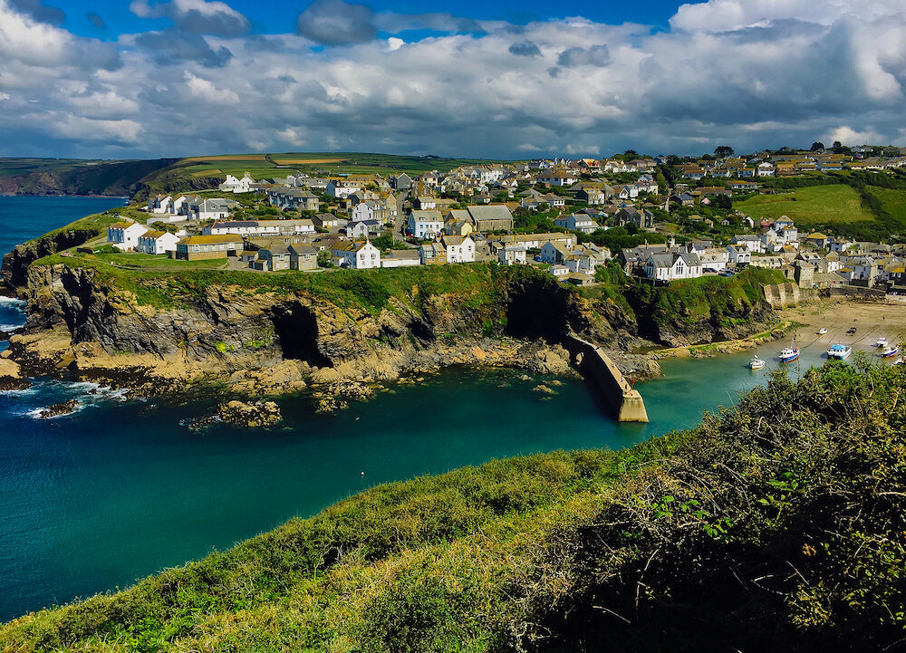 Idyllic view of Port Isaac village in Cornwall on the atlantic ocean, UK