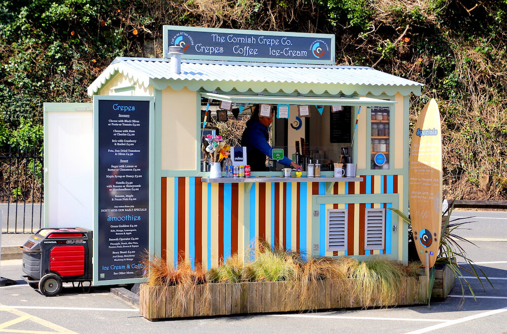 Padstow Cornwall UK - Mobile refreshment stall belonging to Cornish Crepe Company selling crepes ice cream coffee smoothies