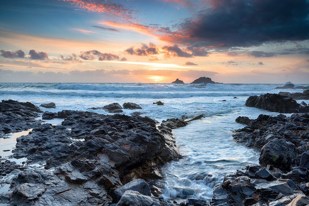 Sunset over Priest's Cove at Cape Cornwall onear Land's End n the Cornish coast