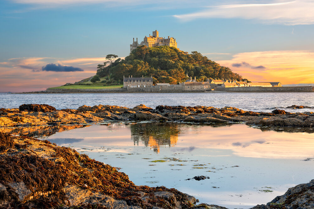 Penzance Cornwall United Kingdom - : View of St Michael's Mount in Cornwall at sunset