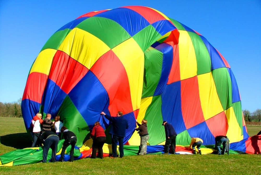 taking down hot air balloon, cornwall.