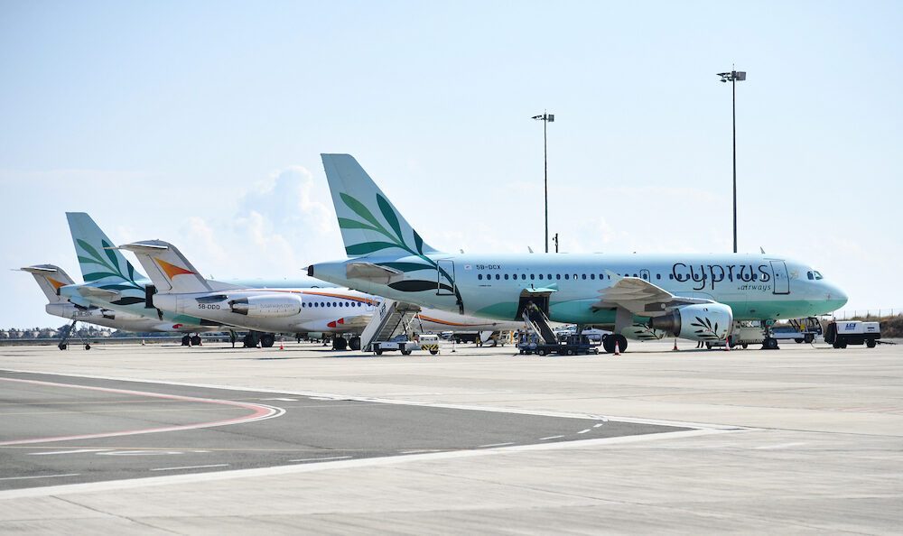 Larnaca, Cyprus - Aircraft of Tus Airways and Cyprus Airways in airport