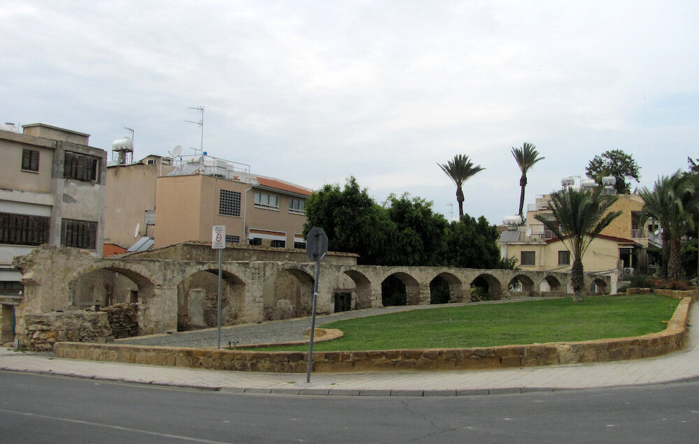 Ancient aqueduct in Nicosia city in Cyprus
