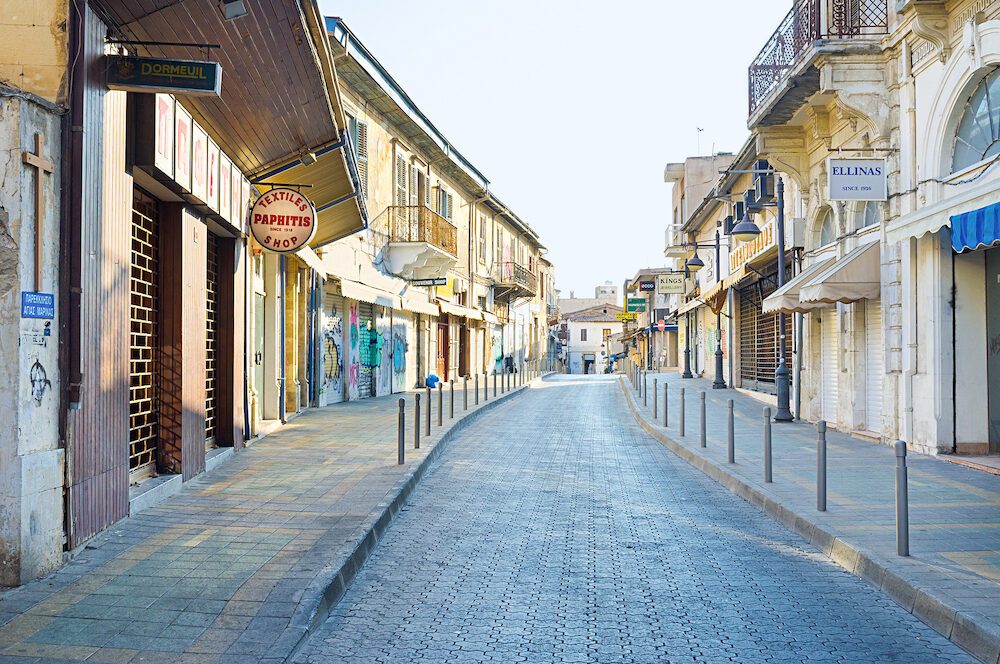 LIMASSOL CYPRUS - : The tourist streets are empty and all the stores are closed during the siesta in Limassol.