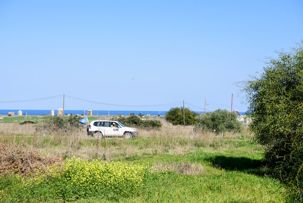 Famagusta Northern Cyprus -United Nation car in Buffer Zone close to Famagusta